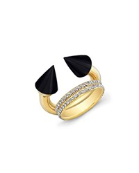Vita Fede Titan Golden Onyx And Double Crystal Band Ring Women's