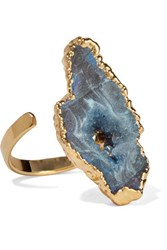 Dara Ettinger Gold Tone Stone Ring Storm Blue