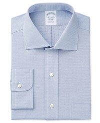 Brooks Brothers Men's Milano Extra Slim Fit Non Iron Blue Solid Dress Shirt Solid Dobby Blue