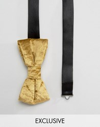 Noose And Monkey Crushed Velvet Bow Tie Gold