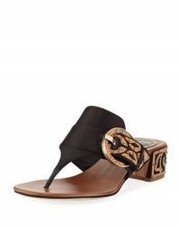 Rene Caovilla Satin Thong Sandal With Wooden Accents Black Brown