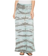 Tribal Slub Knit Jersey Tie Dye Maxi Skirt Aqua Haze Women's Skirt Blue