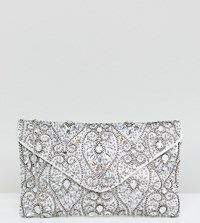 True Decadence Beaded Envelope Clutch Bag Silver