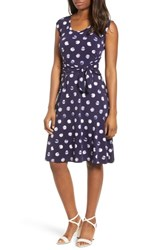 Chaus Tie Dye Dot A Line Dress Evening Navy