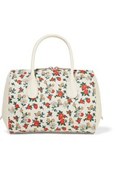 Nina Ricci Extra Small Floral Print Canvas And Leather Tote Cream