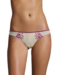 Free People Floral Embroidered Thong Panties Grape