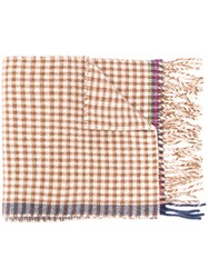 Paul Smith Ps By Check Print Scarf Brown