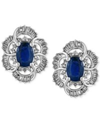 Effy Collection Royale Bleu By Effy Sapphire 2 Ct. T.W. And Diamond 1 2 Ct. T.W. Stud Earrings In 10K White Gold Blue
