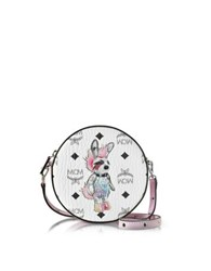 Mcm Rabbit Coated Canvas Small Tambourine Crossbody Bag White