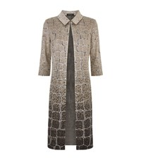 St. John Metallic Knit Studded Long Evening Coat Female Black