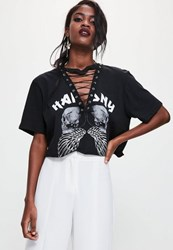 Missguided White Harmony Foiled Graphic Skull T Shirt