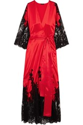 Rosamosario Madame Shehu Lace Paneled Silk Satin Kimono Red