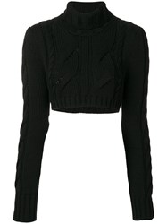 Balmain Pierre Chunky Knit Cropped Jumper Women Merino 40 Black