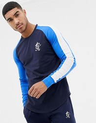 Gym King Muscle Long Sleeve T Shirt In Navy