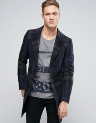 Sisley Wool Overcoat In Wide Check Navy 902