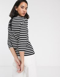 Only Amanda 3 4 Sleeve Stripe Shirt With Bow Detail Black
