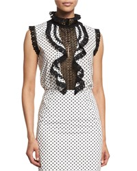 Oscar De La Renta Sleeveless Polka Dot Ruffled Lace Top White Black White Black