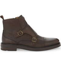 Aldo Armley Leather Double Monk Boots Dark Brown