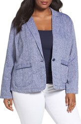Caslonr Plus Size Women's Caslon Linen One Button Blazer
