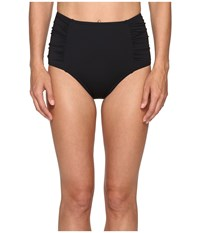 Tommy Bahama Pearl High Waist Shirred Bikini Bottom Black Women's Swimwear