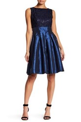 Sangria Lace Fit And Flare Dress Petite Blue