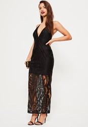 Missguided Black Lace Strappy Plunge Maxi Dress