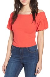 Love Fire Rib Knit Off The Shoulder Top Hibiscus