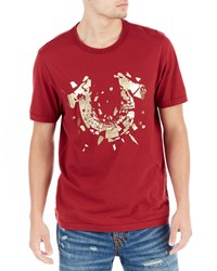 True Religion Shattered Logo T Shirt Oxblood