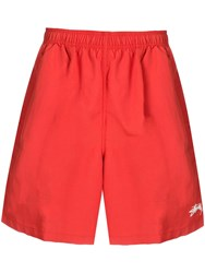 Stussy Logo Patch Swim Shorts Red