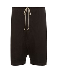 Rick Owens Mesh Overlay Dropped Crotch Shorts Black