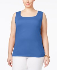 Karen Scott Plus Size Cotton Square Neck Tank Top Only At Macy's Regatta Blue
