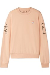 P.E Nation Moneyball Printed Embroidered Cotton Terry Sweatshirt Peach Gbp