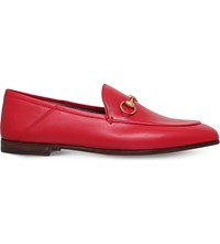 Gucci Brixton Leather Loafers Red