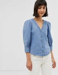 Monki Denim V Neck Blouse With Puff Sleeves In Blue