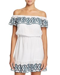 Pampelone Natalia Off The Shoulder Dress Swim Cover Up White