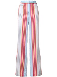 Paul Smith Ps By Striped Wide Leg Trousers Multicolour