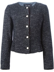 Armani Jeans Buttoned Tweed Jacket Blue