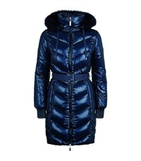 Escada Sport Marly Fur Trimmed Padded Coat Female Navy