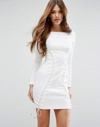 Asos Premium Corset Lace Up Scuba Mini Dress White