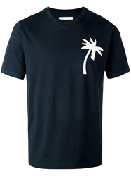 Universal Works Palm Tree Patch T Shirt Blue