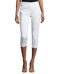 Neiman Marcus Cropped Pique Pants White