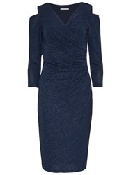 Gina Bacconi Cutout Shoulder Sparkle Stripe Dress Dark Blue