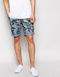 Minimum Chino Shorts With Floral Print Blue