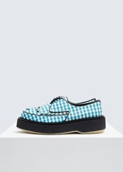 Adieu 'S Exclusive Gingham Oxford Shoes In Blue Black Size 35 Textile Leather Blue Black