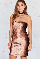 Motel Runaways Sequin Strapless Mini Dress Copper