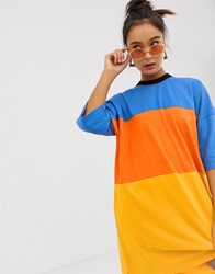The Ragged Priest Oversized T Shirt Dress In Colour Block Multi
