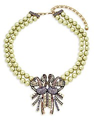 Heidi Daus Faux Pearl Beaded Bow Necklace Multi