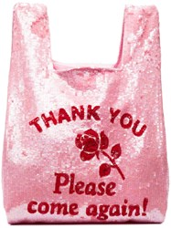 Ashish Thank You Sequin Embellished Tote Pink And Purple