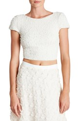 Dress The Population Women's 'Paloma' Sequin Knit Crop Top Ivory