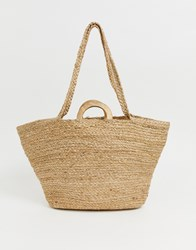 Mango Raffia Shopper With Wooden Handle In Natural Brown